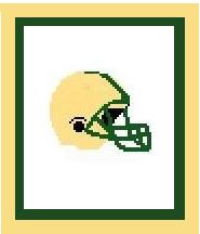"""Football Helmet Crochet Afghan Graph Pattern.  Use any colors you like to match your team.  Then add a name use the Alphabet pattern.  All done in single crochet, changing colors as you go along.  Drop one color, pull in the next.  Medium ability.  Size works up to be approx. 40 x 60"""".  Graph is 64 stitches wide by 104 stitches high.  Then you crochet 22 rows (or more) around the outside edge including a border.  Complete instructions are included, a full size graph, and a Helpful Hints page."""