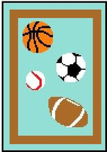 """Sports Multi Crochet Afghan Graph Pattern.  All done in single crochet, changing colors as you go along.  Drop one color, pull in the next.  Medium ability.  Size works up to be approx. 40 x 60"""".  Graph is 64 stitches wide by 104 stitches high.  Then you crochet 22 rows (or more) around the outside edge including a border.  Complete instructions are included, a full size graph, and a Helpful Hints page. DOWNLOAD WILL BE EMAILED TO YOU WITHIN 20 MINUTES OF ORDER COMPLETION.  JUST CLICK """"DOWNLOAD FILES"""". OR, IF YOU WOULD RATHER HAVE IT MAILED, SEND ME AN EMAIL.  ENJOY!"""