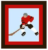 """Hockey Player Crochet Afghan Graph Pattern.  All done in single crochet, changing colors as you go along.  Drop one color, pull in the next.  Medium ability.  Size works up to be approx. 40 x 60"""".  Graph is 64 stitches wide by 104 stitches high.  Then you crochet 22 rows (or more) around the outside edge including a border.  Complete instructions are included, a full size graph, and a Helpful Hints page. DOWLOADABLE WHEN PAYMENT IS COMPLETED THROUGH SEPARATE EMAIL OR SEND ME A NOTE IF YOU WANT IT MAILED."""