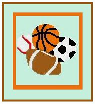 """Sports Crochet Afghan Graph Pattern.  All done in single crochet, changing colors as you go along.  Drop one color, pull in the next.  Medium ability.  Size works up to be approx. 40 x 60"""".  Graph is 64 stitches wide by 104 stitches high.  Then you crochet 22 rows (or more) around the outside edge including a border.  Complete instructions are included, a full size graph, and a Helpful Hints page. DOWNLOAD will be sent to you with order confirmation."""