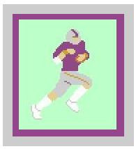"""Football Player Crochet Afghan Graph Pattern.  All done in single crochet, changing colors as you go along.  Drop one color, pull in the next.  Medium ability.  Size works up to be approx. 40 x 60"""".  Graph is 64 stitches wide by 104 stitches high.  Then you crochet 22 rows (or more) around the outside edge including a border.  Complete instructions are included, a full size graph, and a Helpful Hints page."""