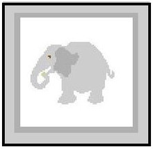 """Elephant Crochet Afghan Graph Pattern.  All done in single crochet, changing colors as you go along.  Drop one color, pull in the next.  Medium ability.  Size works up to be approx. 40 x 60"""".  Graph is 64 stitches wide by 104 stitches high.  Then you crochet 22 rows (or more) around the outside edge including a border.  Complete instructions are included, a full size graph, and a Helpful Hints page."""