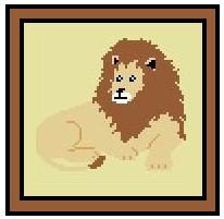 "Lion Matriarch Crochet Afghan Graph Pattern.  All done in single crochet, changing colors as you go along.  Drop one color, pull in the next.  Medium ability.  Size works up to be approx. 40 x 60"".  Graph is 72 stitches wide by 112 stitches high.  Then you crochet 22 rows (or more) around the outside edge including a border.  Complete instructions are included, a full size graph, and a Helpful Hints page."