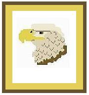 """Eagle Head Crochet Afghan Graph Pattern.  All done in single crochet, changing colors as you go along.  Drop one color, pull in the next.  Medium ability.  Size works up to be approx. 40 x 60"""".  Graph is 64 stitches wide by 104 stitches high.  Then you crochet 22 rows (or more) around the outside edge including a border.  Complete instructions are included, a full size graph, and a Helpful Hints page."""