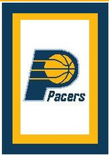 """Indiana Pacers Crochet Afghan Graph Pattern.  All done in single crochet, changing colors as you go along.  Drop one color, pull in the next.  Medium ability.  Size works up to be approx. 50 x 70"""".  Graph is 100 stitches wide by 140 stitches high.  Then you crochet 22 rows (or more) around the outside edge including a border.  Complete instructions are included, a full size graph, and a Helpful Hints page. DOWNLOADABLE"""
