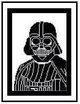 """Darth Vader Crochet Afghan Graph Pattern.  All done in single crochet, changing colors as you go along.  Drop one color, pull in the next.  Medium ability.  Size works up to be approx. 50 x 70"""".  Graph is 100 stitches wide by 140 stitches high.  Then you crochet 22 rows (or more) around the outside edge including a border.  Complete instructions are included, a full size graph, and a Helpful Hints page."""