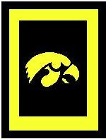 "Iowa Hawkeyes Crochet Afghan Graph Pattern.  All done in single crochet, changing colors as you go along.  Drop one color, pull in the next.  Medium ability.  Size works up to be approx. 50 x 70"".  Graph is 100 stitches wide by 140 stitches high.  Then you crochet 22 rows (or more) around the outside edge including a border.  Complete instructions are included, a full size graph, and a Helpful Hints page. DOWNLOAD WILL BE SENT WITH ORDER CONFIRMATION.  Just click on ""Download Files"" below the pattern name.  Enjoy!"