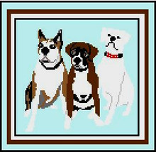 """3 Boxers Crochet Afghan Graph Pattern.  All done in single crochet, changing colors as you go along.  Drop one color, pull in the next.  Medium ability.  Size works up to be approx. 50 x 70"""".  Graph is 110 stitches wide by 150 stitches high.  Then you crochet 22 rows (or more) around the outside edge including a border.  Complete instructions are included, a full size graph, and a Helpful Hints page."""