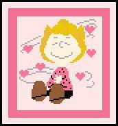 """Sally Brown Crochet Afghan Graph Pattern.  All done in single crochet, changing colors as you go along.  Drop one color, pull in the next.  Medium ability.  Size works up to be approx. 40 x 60"""".  Graph is 64 stitches wide by 104 stitches high.  Then you crochet 22 rows (or more) around the outside edge including a border.  Complete instructions are included, a full size graph, and a Helpful Hints page."""