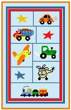 "Cars Trucks Planes and Trains Crochet Afghan Graph Pattern.  All done in single crochet, changing colors as you go along.  Drop one color, pull in the next.  Medium ability.  Size works up to be approx. 40 x 60"".  Graph is 70 stitches wide by 123 stitches high.  Then you crochet 22 rows (or more) around the outside edge including a border.  Complete instructions are included, a full size graph, and a Helpful Hints page. Download will be emailed to you within 20 minutes (in your Confirmation).  OR, if you'd rather have it mailed, email me.  Enjoy!"