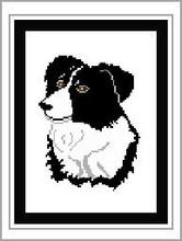 """Border Collie #1 Crochet Afghan Graph Pattern.  All done in single crochet, changing colors as you go along.  Drop one color, pull in the next.  Medium ability.  Size works up to be approx. 50 x 70"""".  Graph is 80 stitches wide by 120 stitches high.  Then you crochet 22 rows (or more) around the outside edge including a border.  Complete instructions are included, a full size graph, and a Helpful Hints page."""