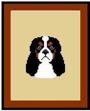 """Cavalier King Charles Multi Crochet Afghan Graph Pattern.  All done in single crochet, changing colors as you go along.  Drop one color, pull in the next.  Medium ability.  Size works up to be approx. 40 x 60"""".  Graph is 64 stitches wide by 104 stitches high.  Then you crochet 22 rows (or more) around the outside edge including a border.  Complete instructions are included, a full size graph, and a Helpful Hints page."""
