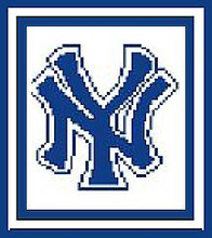 """NY Logo Blue on White Crochet Afghan Graph Pattern.  All done in single crochet, changing colors as you go along.  Drop one color, pull in the next.  Medium ability.  Size works up to be approx. 40 x 60"""".  Graph is 64 stitches wide by 104 stitches high.  Then you crochet 22 rows (or more) around the outside edge including a border.  Complete instructions are included, a full size graph, and a Helpful Hints page with instructions for enlarging like this afghan pic. DOWNLOAD WILL BE SENT TO YOU WITH THE ORDER CONFIRMATION.  JUST CLICK """"DOWNLOAD FILES"""".  ENJOY!"""