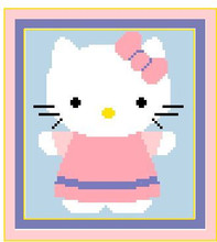 """Hello Kitty NEW Crochet Afghan Graph Pattern.  All done in single crochet, changing colors as you go along.  Drop one color, pull in the next.  Medium ability.  Size works up to be approx. 40 x 60"""".  Graph is 64 stitches wide by 104 stitches high.  Then you crochet 22 rows (or more) around the outside edge including a border.  Complete instructions are included, a full size graph, and a Helpful Hints page. DOWNLOAD or can be MAILED if you mention it with order."""