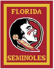 "FSU Florida Seminoles Crochet Afghan Graph Pattern.  All done in single crochet, changing colors as you go along.  Drop one color, pull in the next.  Medium ability.  Size works up to be approx. 50 x 70"".  Graph is 100 stitches wide by 140 stitches high.  Then you crochet 22 rows (or more) around the outside edge including a border.  Complete instructions are included, a full size graph, and a Helpful Hints page. You will receive the download with your Order Confirmation (just click ""Download Files""), OR, I can mail it if you mention that with your order."