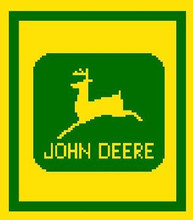 """John Deere LOGO Crochet Afghan Graph Pattern.  All done in single crochet, changing colors as you go along.  Drop one color, pull in the next.  Medium ability.  Size works up to be approx. 40 x 60"""".  Graph is 64 stitches wide by 104 stitches high.  Then you crochet 22 rows (or more) around the outside edge including a border.  Complete instructions are included, a full size graph, and a Helpful Hints page. DOWNLOAD WILL BE EMAILED WITHIN THE ORDER CONFIRMATION (JUST CLICK ON """"DOWNLOAD FILES"""");  OR EMAIL ME IF YOU'D LIKE IT MAILED."""