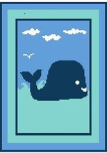 "Whale Baby Crochet Afghan Graph Pattern.  All done in single crochet, changing colors as you go along.  Drop one color, pull in the next.  Medium ability.  Size works up to be approx. 45 x 65"".  Graph is 72 stitches wide by 112 stitches high.  Then you crochet 22 rows (or more) around the outside edge including a border.  Complete instructions are included, a full size graph, and a Helpful Hints page. DOWNLOAD AFTER ORDER CONFIRMATION IS RECEIVED or can be MAILED if you mention it with order."