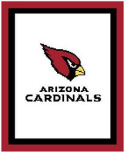 """Arizona Cardinals Logo Crochet Graph Afghan Pattern.  All done in single crochet, changing colors as you go along.  Drop one color, pull in the next.  Medium ability.  Size works up to be approx. 50 x 70"""".  Graph is 100 stitches wide by 140 stitches high.  Then you crochet 22 rows (or more) around the outside edge including a border; add more rows if you would like it larger.  Complete instructions are included, a full size graph, and a Helpful Hints page. DOWNLOADABLE WITH ORDER CONFIRMATION OR EMAIL ME IF YOU WANT IT MAILED."""