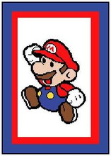 """Mario Bros. Crochet Afghan Graph Pattern.  All done in single crochet, changing colors as you go along.  Drop one color, pull in the next.  Medium ability.  Size works up to be approx. 50 x 70"""".  Graph is 100 stitches wide by 140 stitches high.  Then you crochet 22 rows (or more) around the outside edge including a border.  Complete instructions are included, a full size graph, and a Helpful Hints page. Downloadable Now! Just click on """"Download Files"""" on your confirmation which comes to you within 20 minutes. Enjoy!"""