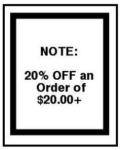 20% Off of any order over $20.00.  Buy 4 patterns get a $4.76 Discount, Buy 5 patterns, get a $5.95 Discount.  Thank You and Enjoy! Janet