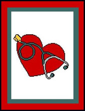 """Nurse stethoscope Crochet Afghan Graph Pattern.  All done in single crochet, changing colors as you go along.  Drop one color, pull in the next.  Medium ability.  Size works up to be approx. 50 x 70"""".  Graph is 100 stitches wide by 140 stitches high.  Then you crochet 22 rows (or more) around the outside edge including a border.  Complete instructions are included, a full size graph, and a Helpful Hints page. Will be Emailed to you as a Download within your Order Confirmation. Enjoy!"""