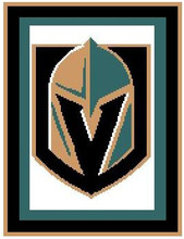 "Las Vegas Knights Hockey Logo Crochet Graph Afghan Pattern.  All done in single crochet, changing colors as you go along.  Drop one color, pull in the next.  Medium ability.  Size works up to be approx. 50 x 70"".  Graph is 100 stitches wide by 140 stitches high.  Then you crochet 22 rows around the outside edge including a border, if you would like it larger.  Complete instructions are included, a full size graph, and a Helpful Hints page. DOWNLOAD WILL BE SENT TO YOU WITH ORDER CONFIRMATION. Just Click ""Download Files"" and ENJOY!"
