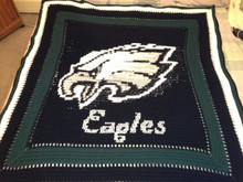 "Afghan Customized and photographed by M.D. Love (2013).  She added her own wording ""Eagles"" in script and adjusted the grey in the eagle to beige. I have adjusted my graph now to have the word Eagles on it."