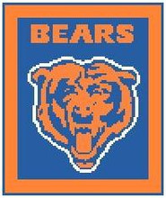 """Chicago Bears Logo Crochet Graph Afghan Pattern.  All done in single crochet, changing colors as you go along.  Drop one color, pull in the next.  Medium ability.  Size works up to be approx. 50 x 70"""".  Graph is 80 stitches wide by 99 stitches high.  Then you crochet 22 rows around the outside edge including a border, if you would like it larger.  Complete instructions are included, a full size graph, and a Helpful Hints page."""