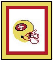 """San Francisco 49ers Crochet Graph Afghan Pattern.  All done in single crochet, changing colors as you go along.  Drop one color, pull in the next.  Medium ability.  Size works up to be approx. 50 x 70"""".  Graph is 104 stitches wide by 144 stitches high.  Then you crochet 22 rows around the outside edge including a border, if you would like it larger.  Complete instructions are included, a full size graph, and a Helpful Hints page. DOWNLOADABLE."""
