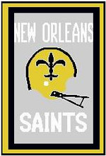 """New Orleans Saints Crochet Graph Afghan Pattern.  All done in single crochet, changing colors as you go along.  Drop one color, pull in the next.  Medium ability.  Size works up to be approx. 50 x 70"""".  Graph is 128 stitches wide by 208 stitches high.  Then you crochet 22 rows around the outside edge including a border, if you would like it larger.  Complete instructions are included, a full size graph, and a Helpful Hints page. DOWNLOADABLE"""