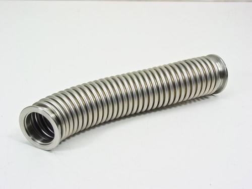 "QF Stainless Steel Vacuum Pump Flex Hose 10 Inches (2 1/8"")"