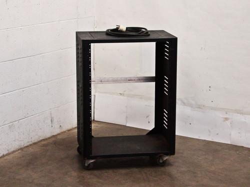 Generic Metal Storage Cabinet on Wheels Including Power Strip Plug (Black)