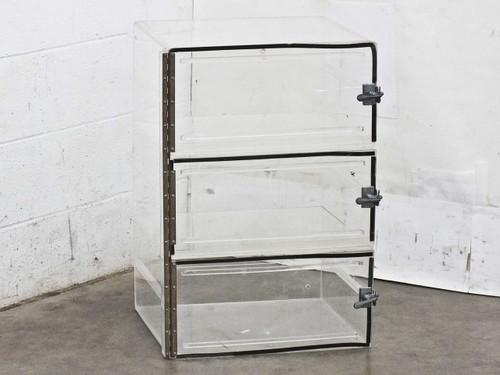 Plexiglass 3 Door Nitrogen Dry Box Desiccator (18 x 18 x 27)