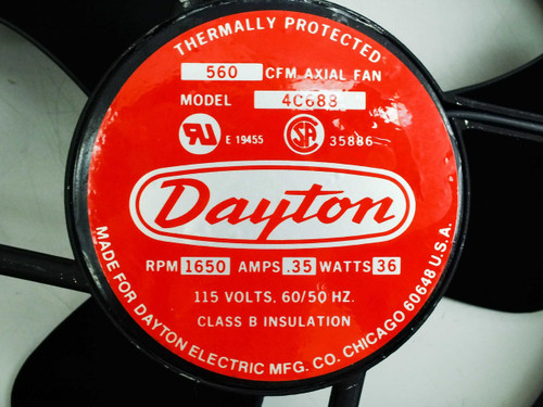 Dayton 4c688 thermally protected 1650 rpm 35amps 36 w 560 for Motor technology inc dayton ohio