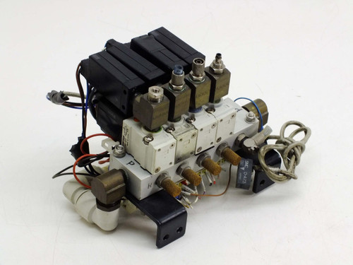 SMC Manifold with 4 NVKF333V-5G-01T Solenoid Valves & ZSE1-T1-55CN Vacuum Switch