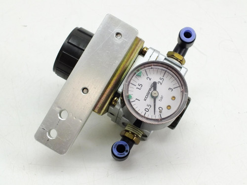 Koganei Precision Regulator 0.005 - 0.25 MPa 3bar Gauge and Mounting Bracket