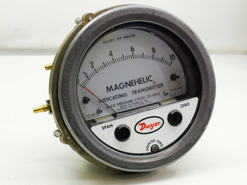 "Dwyer 0-10"" Magnehelic Differential Pressure Indicating Transmitter Gauge"