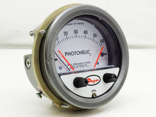 "Dwyer 0-60"" Photohelic Differential Pressure Gage with Low/High Set-Points"