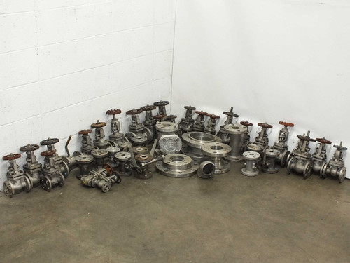Powell LOT OF 45 Stainless Steel Pressure / Flow Gates, Valves and Fittings