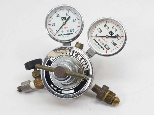Matheson Regulator with 63-3112 0-100PSI and 63-3133 0-3000PSI Gauges (8-580)