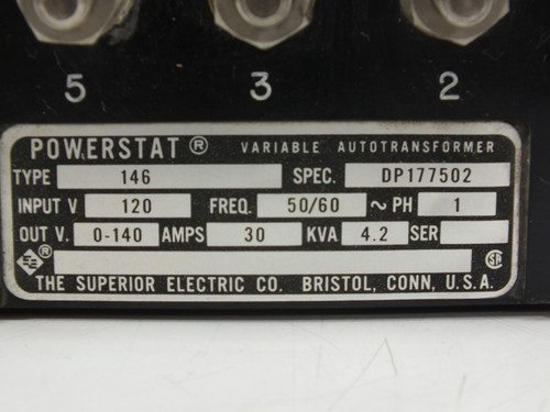 Superior Electric Co 146 30 Amp 146 Powerstat Variable