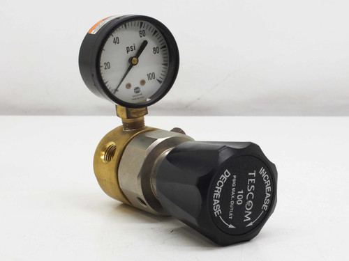 "Tescom 44-212-2420-09 Pressure Reducing Regulator Brass 0-100PSIG 1/4"" NPTF"