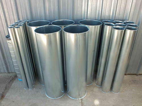 Galvanized Round Air-Duct, Lot of 22 pcs (Steel)