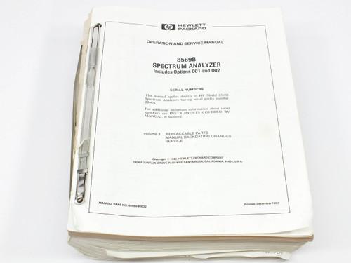 HP 8569B  Spectrum Analyzer Operation and Service Manual Volume 3