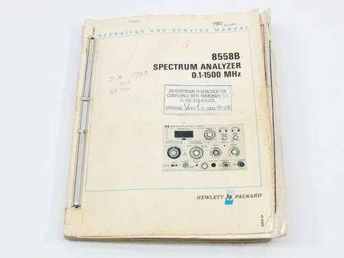 HP 8558B  Spectrum Analyzer 0.1-1500 MHz Operating and Service Manual