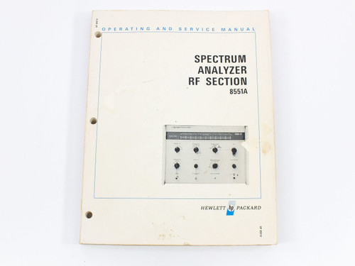HP 8551A  Spectrum Analyzer RF Section Operating and Service Manual