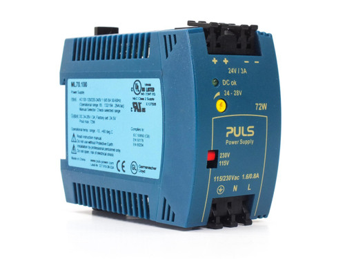 Puls Power ML70.100  MiniLine DIN-Rail Power Supply PRI:115/230V SEC: 24-28VDC