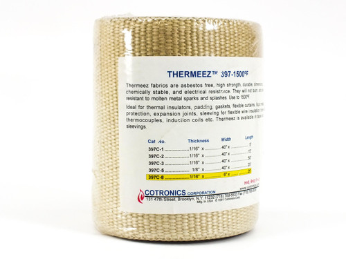 "Cotronics Thermeez 397-1500 F 6"" Woven Thermal Insulator Cloth Fabric"