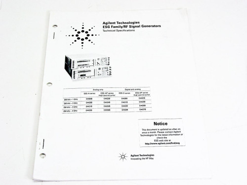 HP Technical Specifications ESG Family / RF Signal Generators