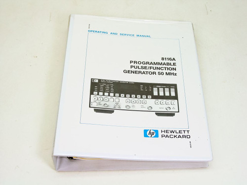 HP 8116A  Programmable Pulse/Function Generator 50 MHz Operating & Service Manua